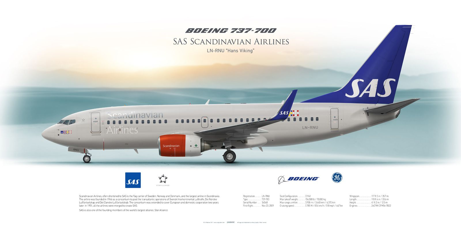 Boeing 737 700 Sas Scandinavian Airlines Ln Rnu Sas Airlines Aviation Boeing