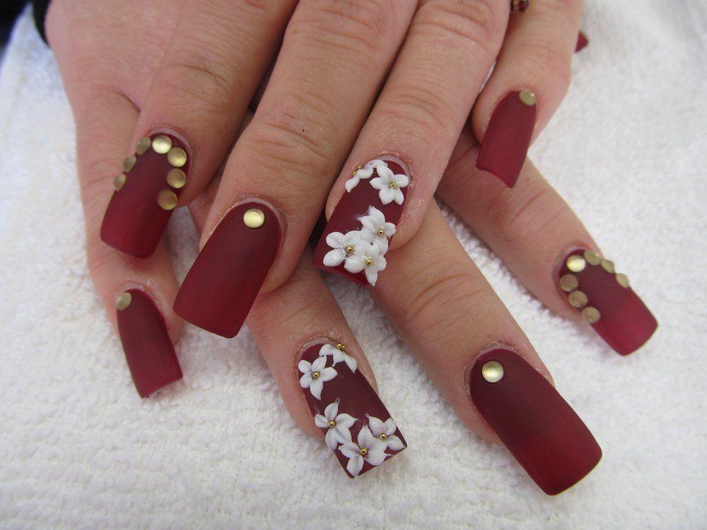 3d flower matte red color nail design