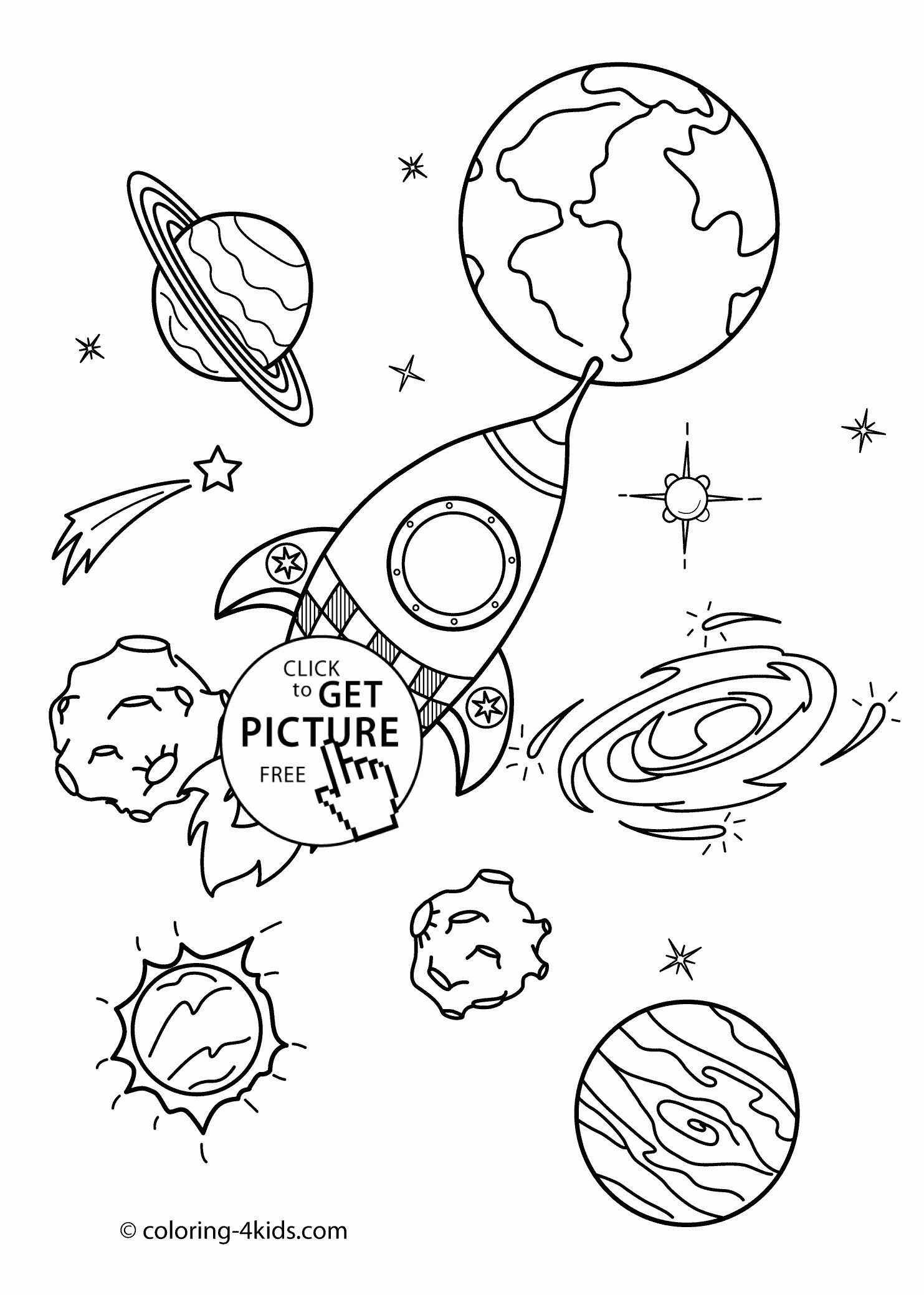Space Coloring Pages For Kids In