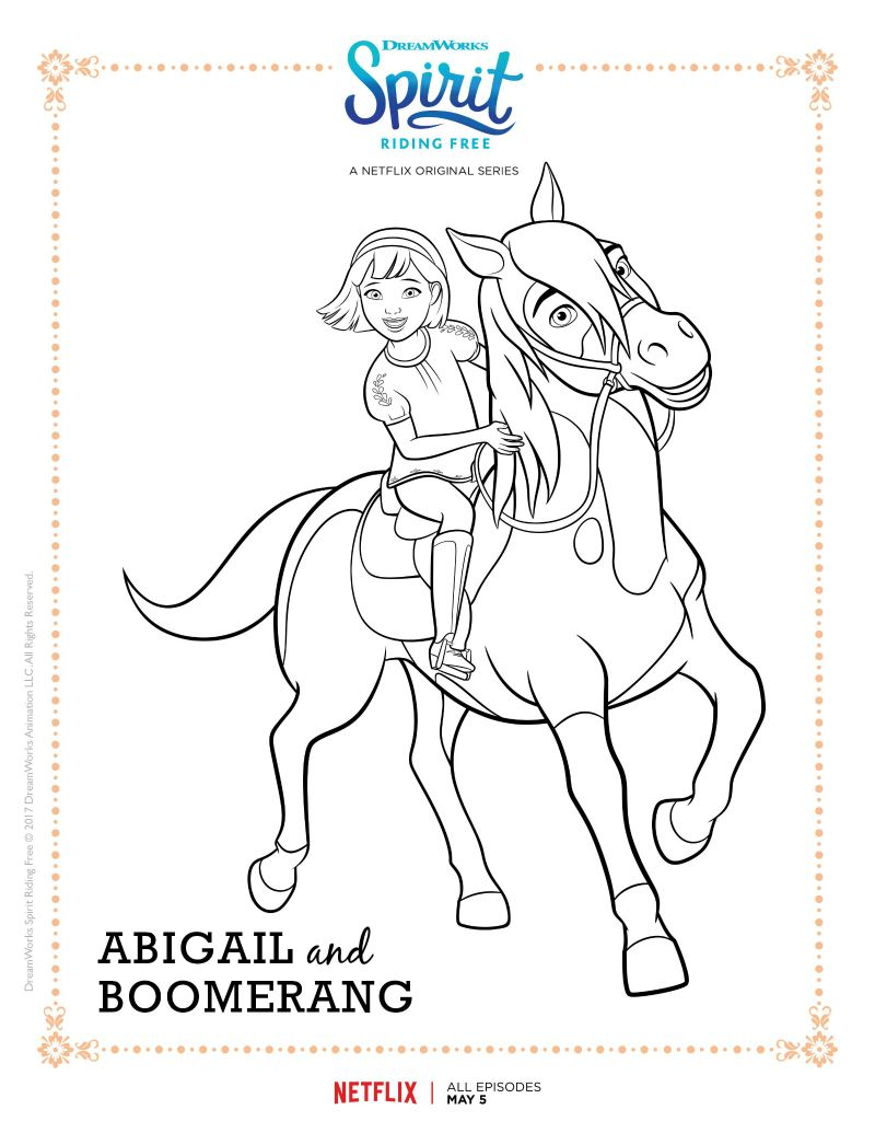 Spirit Riding Free Abigail And Boomerang Coloring Page Horse Coloring Pages Free Coloring Pages Cartoon Coloring Pages