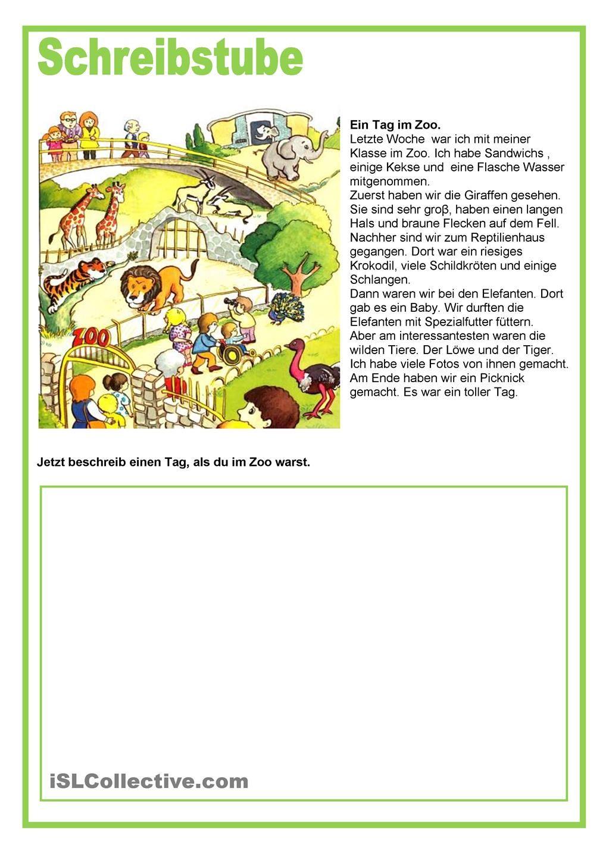 Schreibstube - Tiere - Ein Tag im Zoo   Deutsch, Schule und Sommerschule