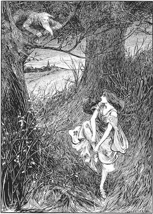 """""""The Red Shoes,"""" Fairy Tales of Hans Christian Andersen, 1899, illustrated by Helen Stratton (source)"""
