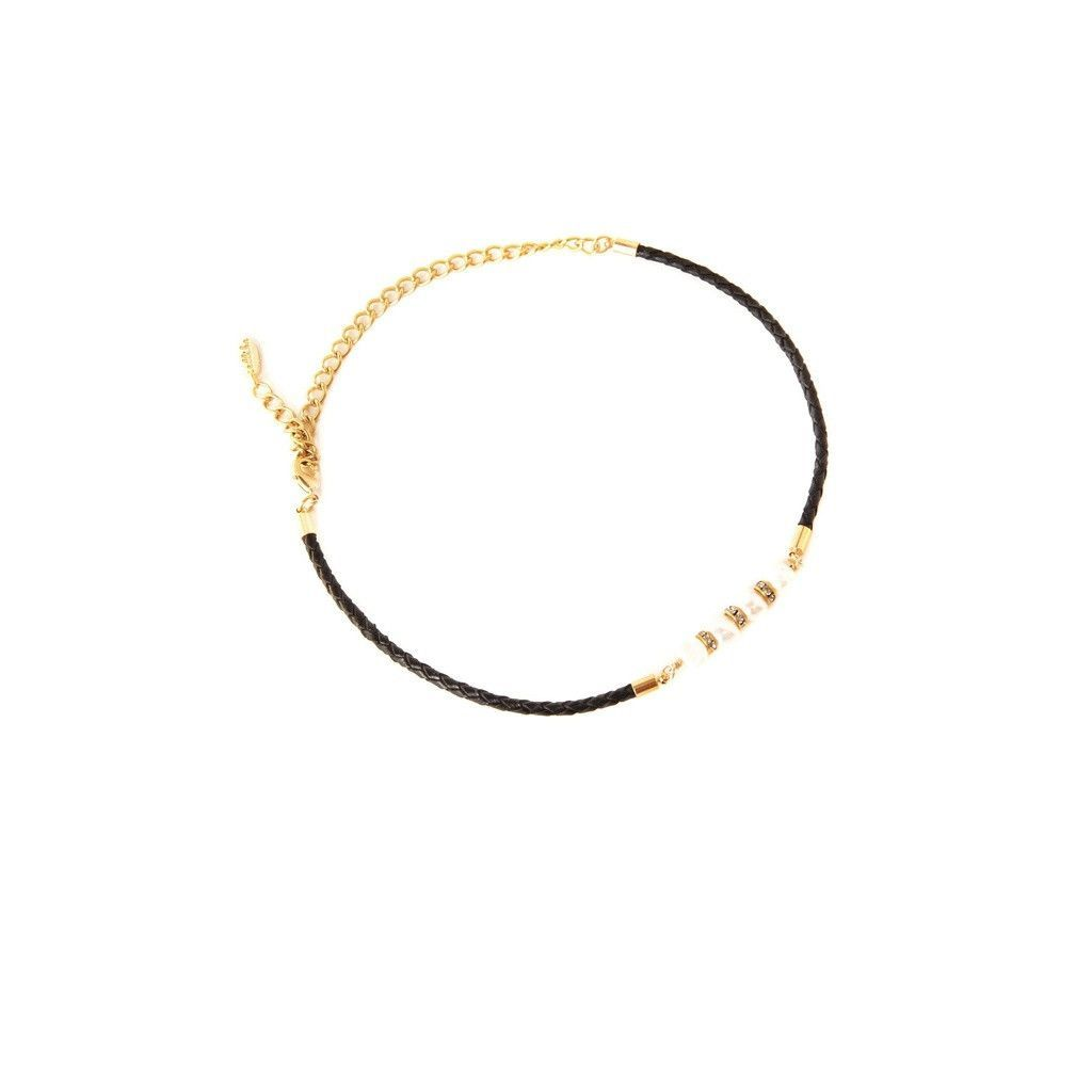 Simple Strand Pearl Choker in Black and Gold