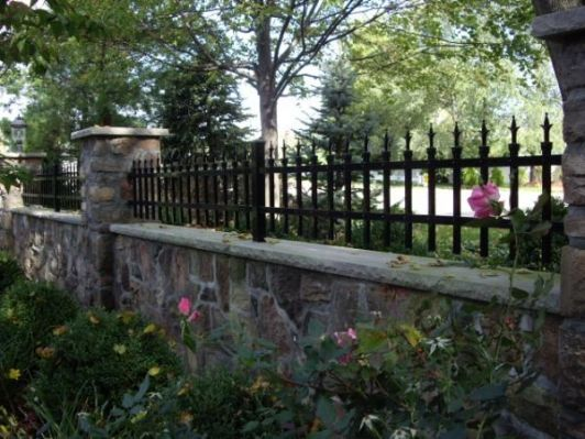 Custom Metal Fence On Stone Wall Home And Garden Design Idea S