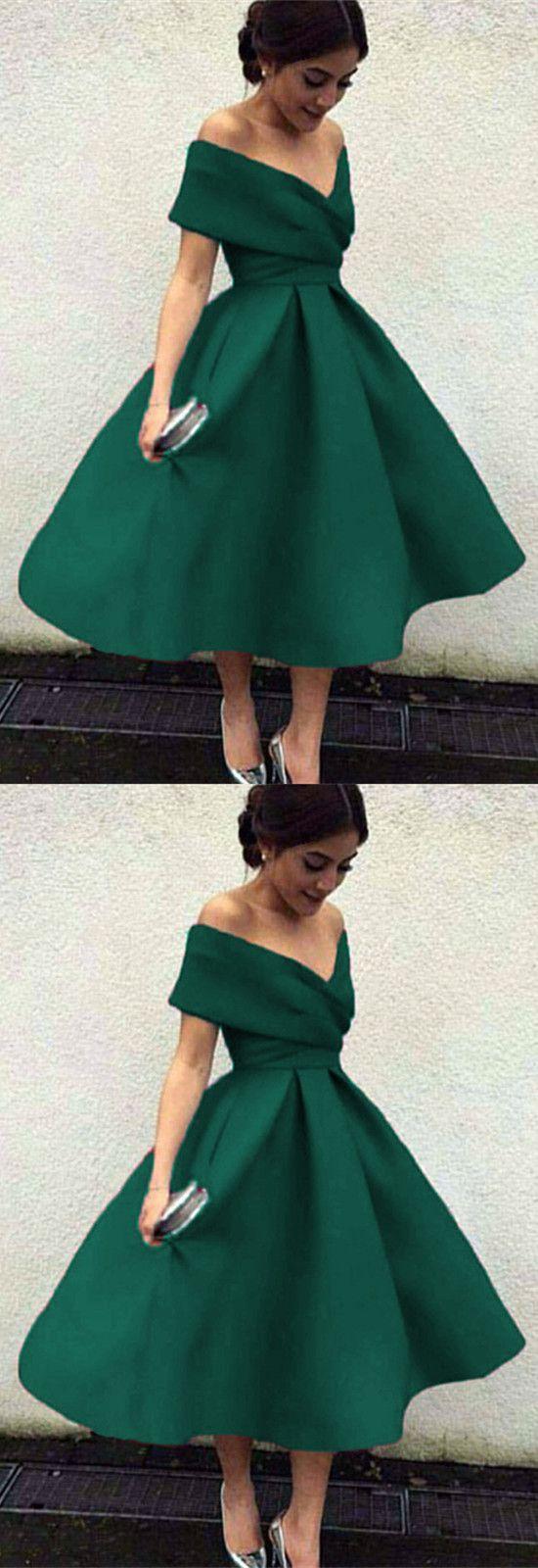 Vintage 1950s Style V Neck Off The Shoulder Tea Length Ball Gowns Party Dresses Tea Length Bridesmaid Dresses Green Prom Dress Prom Dresses With Pockets [ 1600 x 550 Pixel ]