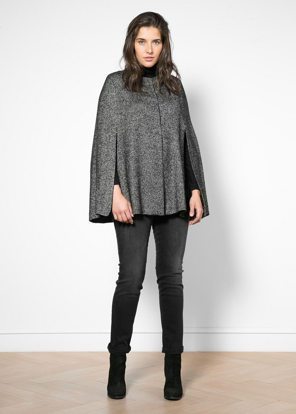 2c6a346fbe02 Cashmere wool-blend cape - Plus sizes