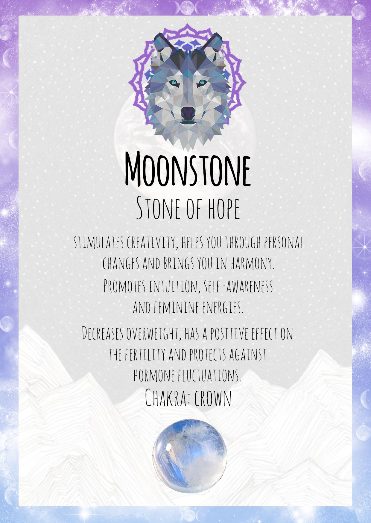 Moonstone Gemstone Card Wolf Wolves Animal Animals Witch