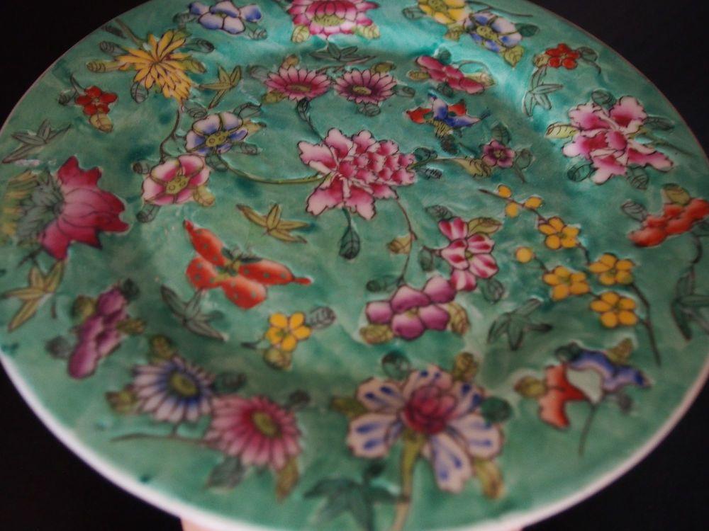 Vtg Antique Chinese Export Famille Verte Millefleur Green Butterfly Plate 8  FC