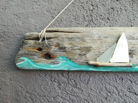 Photo of Sailing boat on painted Driftwood, seaglass seapottery boat, Handmade driftwood art, driftwood seaglass boat, nautical natural decor #SL07#