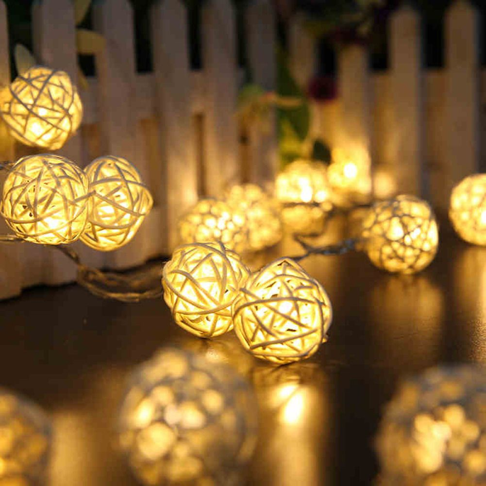 Cheap String Lights Glamorous Euus 5M Warm White String Lighting 20 Led Rattan Ball Holiday