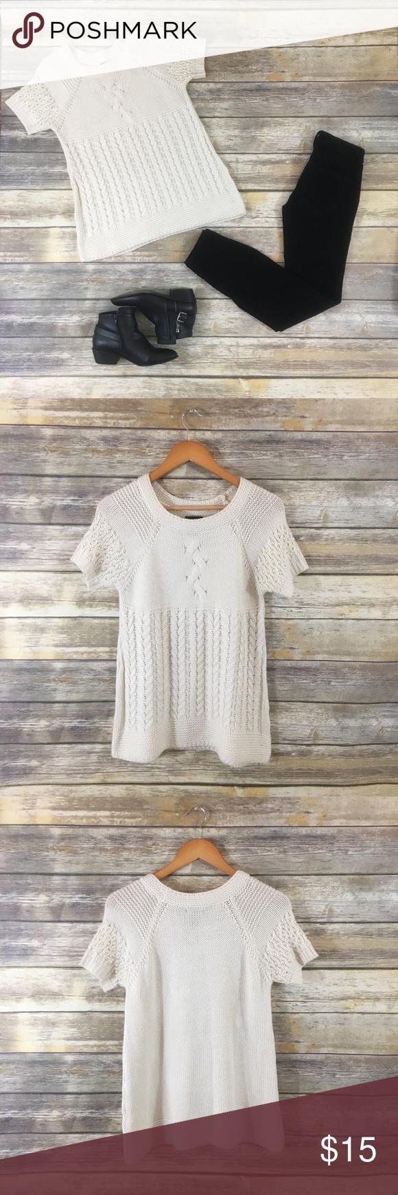 Short sleeve sweater pearl embellished sleeves flat lay short