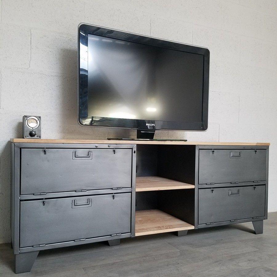 meuble tv industriel avec ancien vestiaire 2 portes  ref