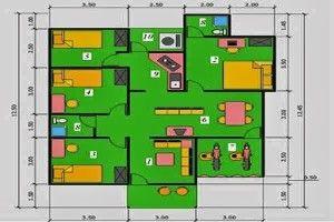 Desain Rumah Minimalis 1 Lantai 5 Kamar Tidur 2 | Denah Rumah, Rumah Minimalis, Rumah