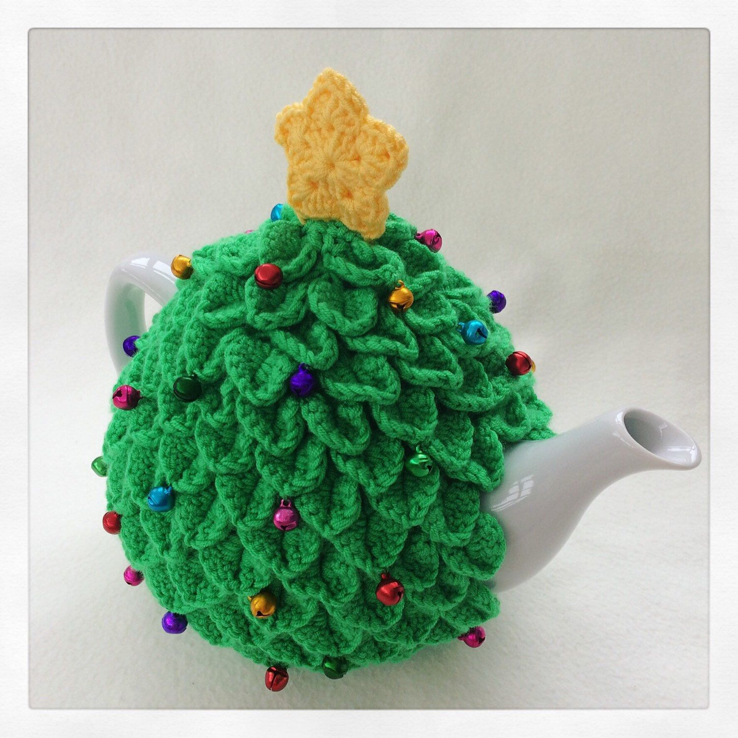 Just Listed This Crochet Christmas Tree Tea Cosy Is Decorated With Colourful Mini Jingling Bell Baubles S Tea Cosy Crochet Christmas Trees Christmas Crochet