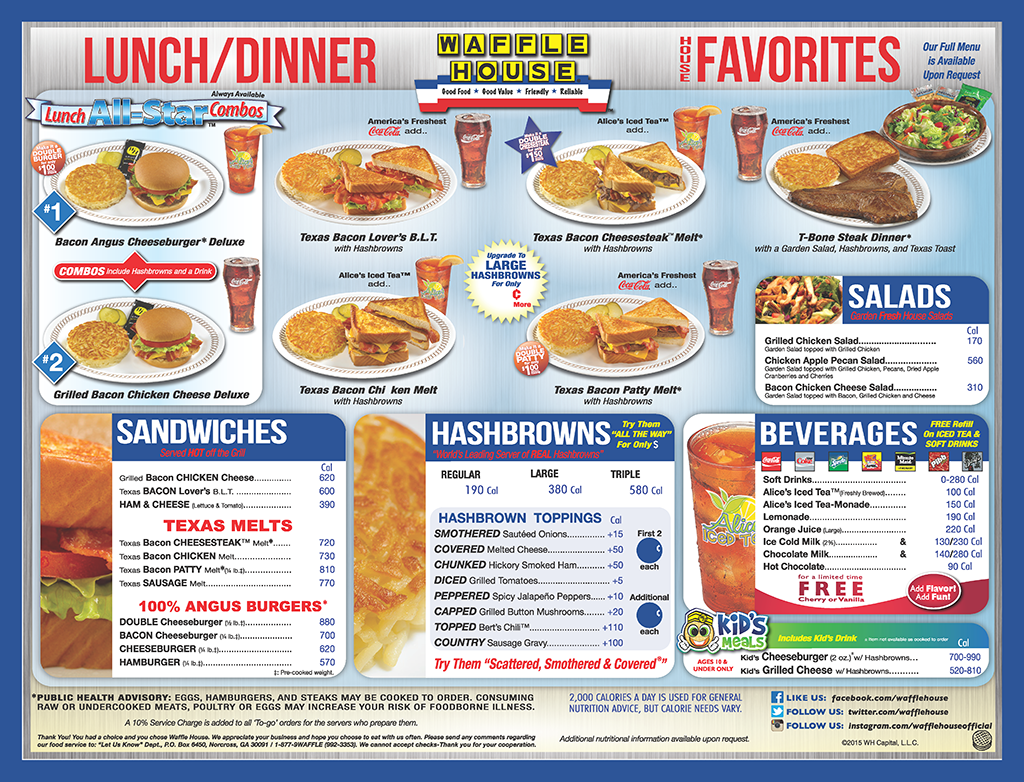 The Waffle House Menu With Images