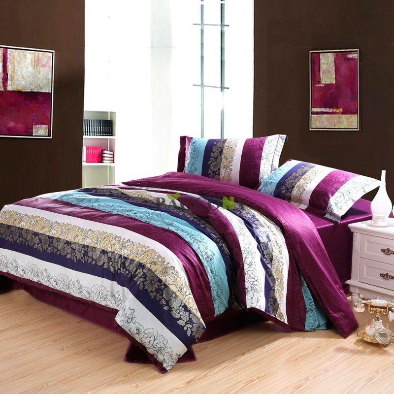 Cheap Elegant Stripe Purple Cotton 4Piece Queen/King Size