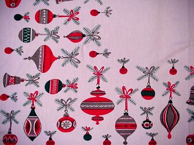 Vintage Christmas MIDCENTURY Shiney Brite ORNAMENTS Large Tablecloth MODERN Fab!