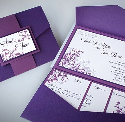 Renaissance Writings 5x7 Pocket Fold Invitation With Tapestry In Purple