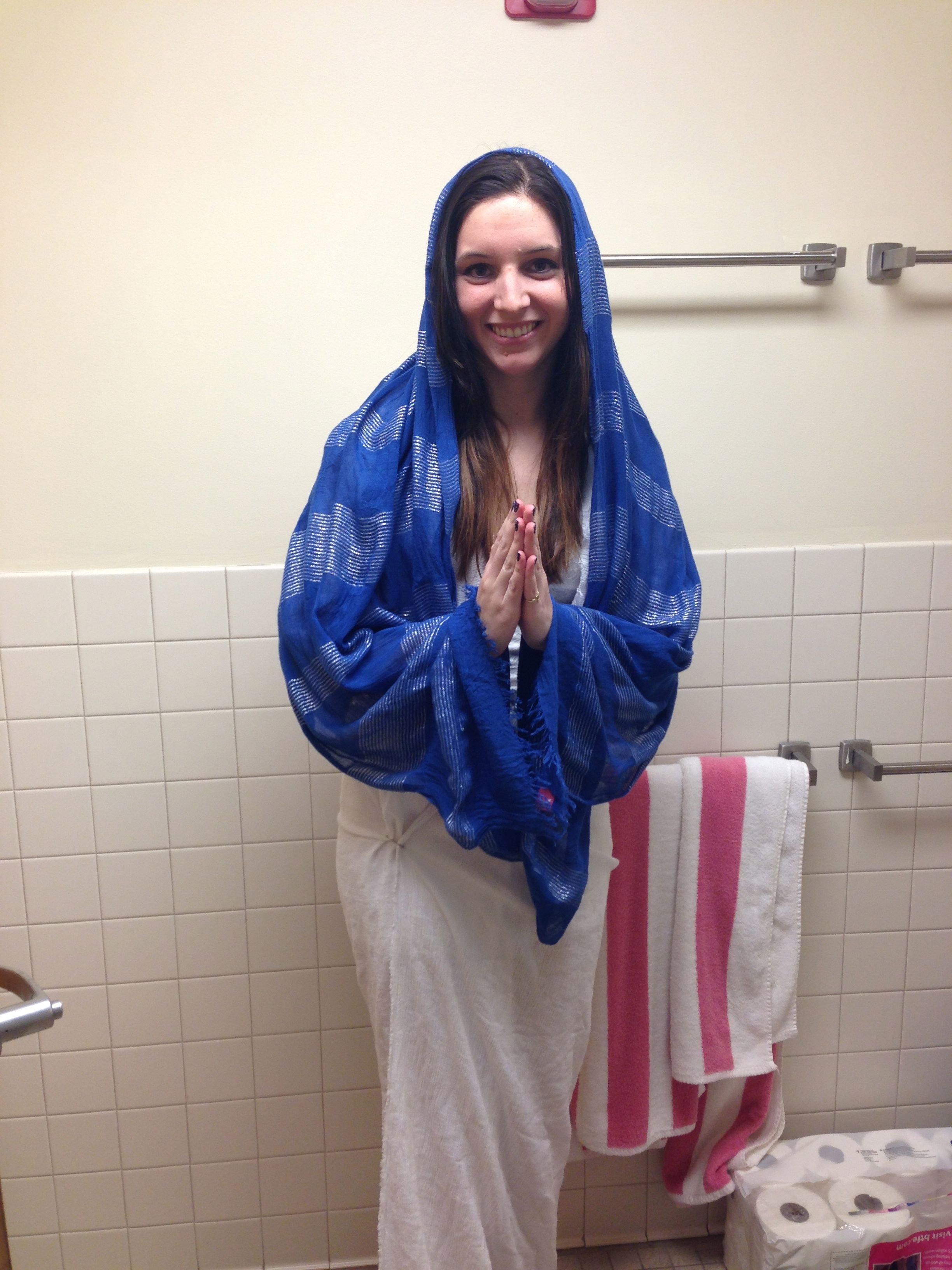 The Virgin Mary - Another simple homemade costume with a sheet and scarf.  And of course good morale 110b2c68b8ec