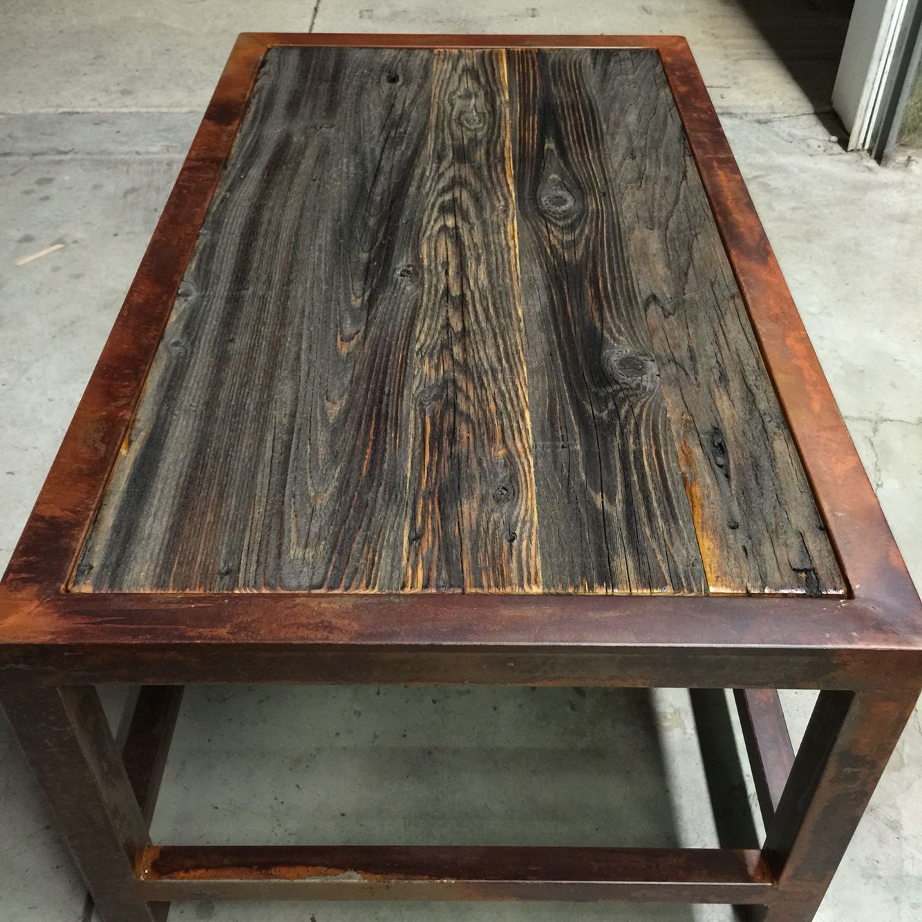 Rustic steel and bar wood coffee table Built in Hayden