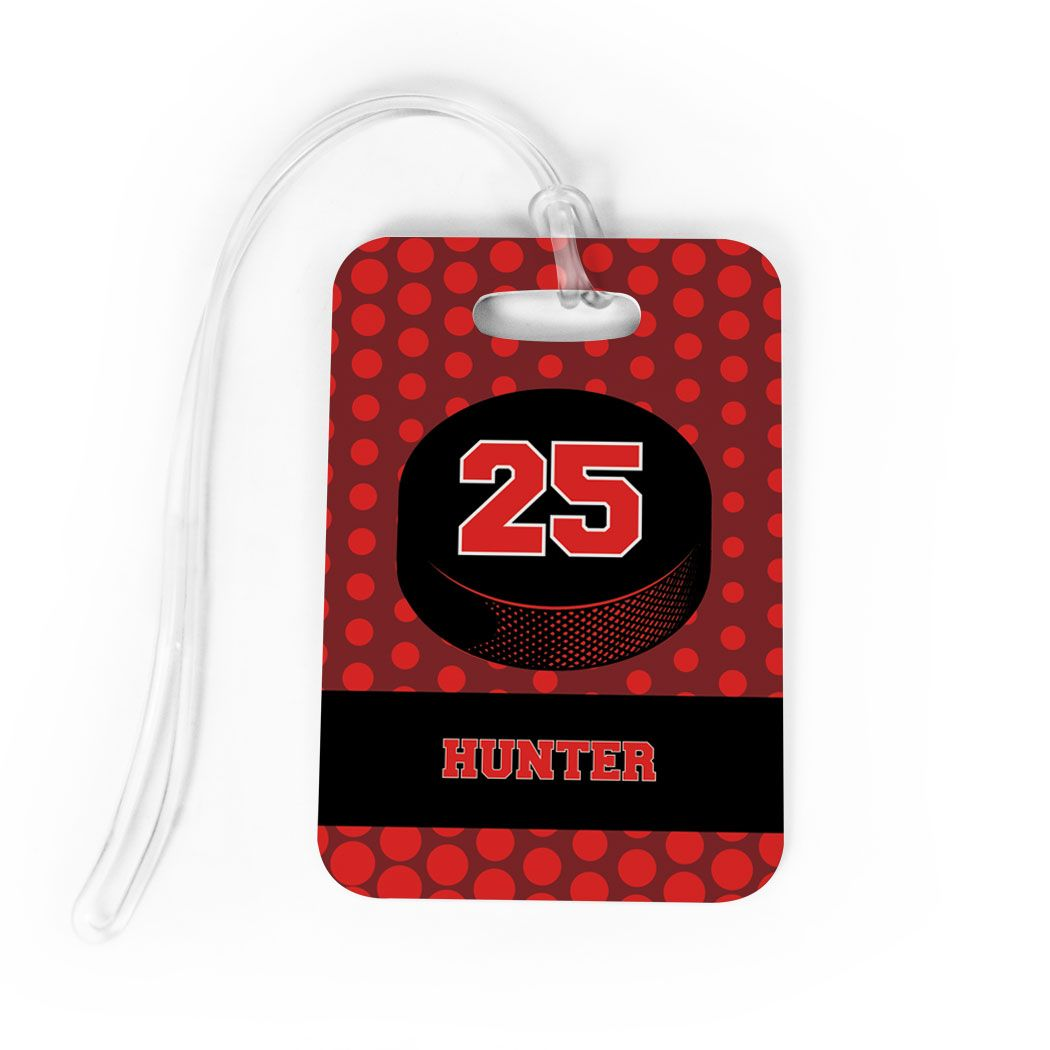 Hockey Bag Luggage Tag Personalized Hockey Puck With Dots Background Luggage Bags Luggage Accessories One Bag