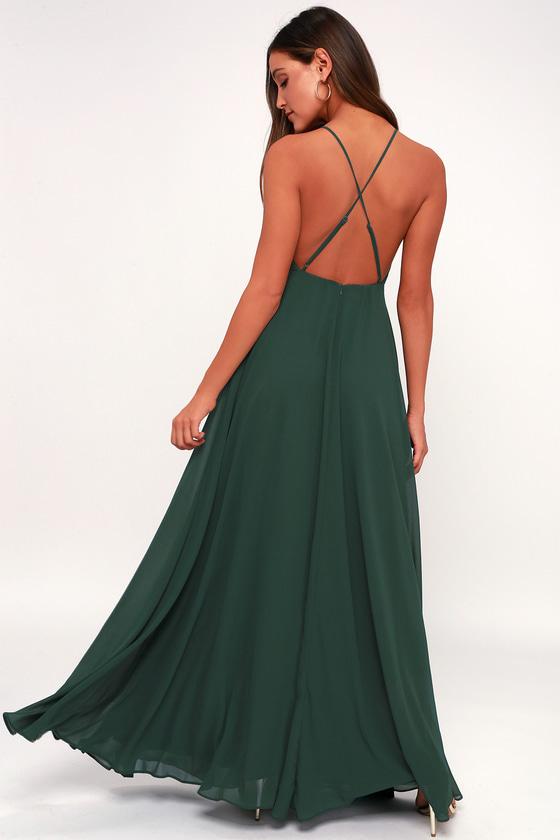 08ecbc9567079 Lulus   Mythical Kind of Love Dark Green Maxi Dress   Size Large ...