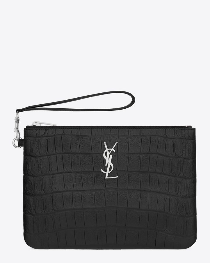 0ca187f420abe CLASSIC SAINT LAURENT Pouch with removable wrist strap and METAL  INTERLOCKING YSL SIGNATURE.  695