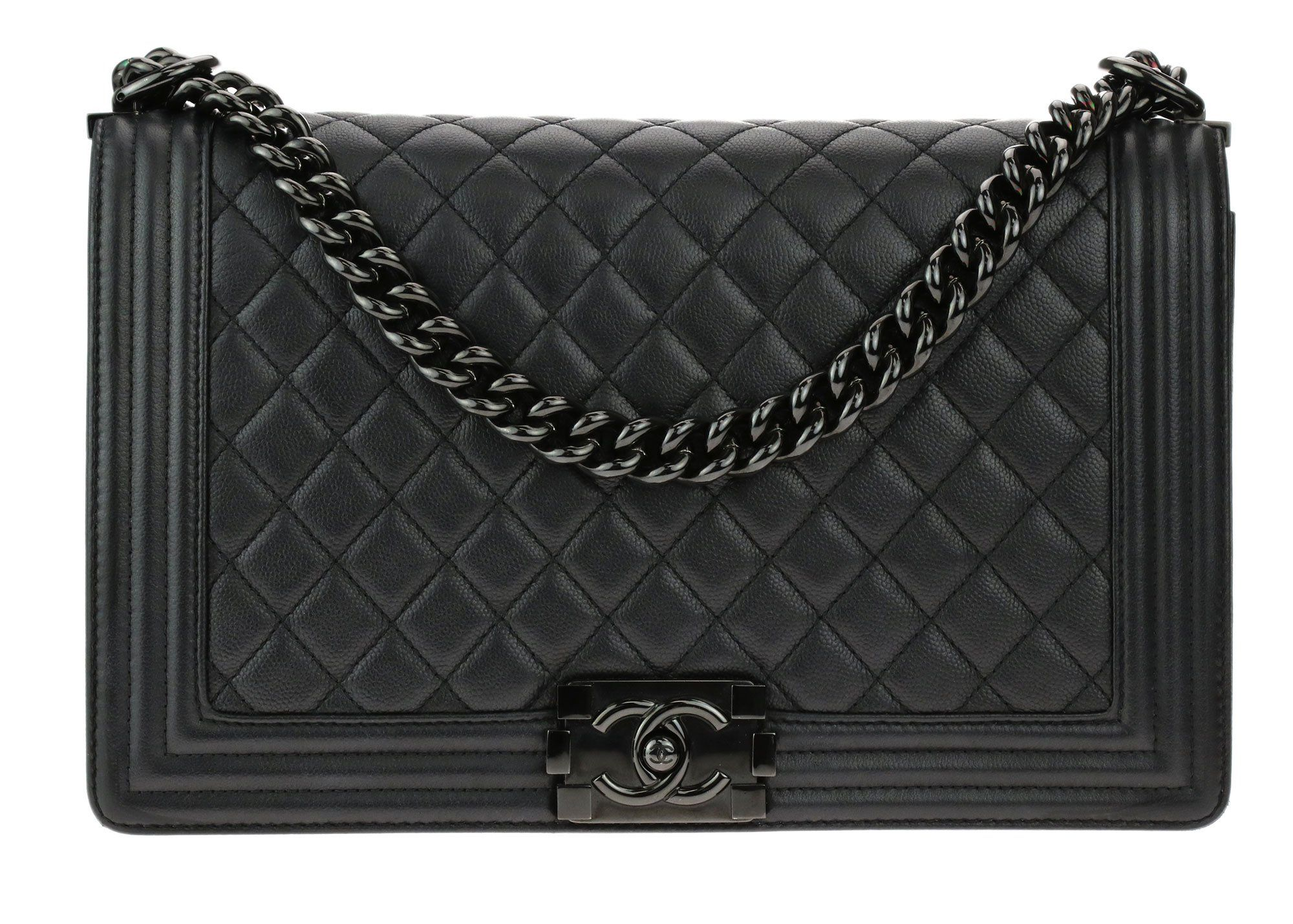 232bf7388ad8 Chanel New Medium So Black Caviar Leather Iridescent Boy Bag | I Own ...