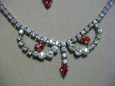 Sherman Clear and Red Rhinestone Necklace Screw On Earrings Rhodium Plated