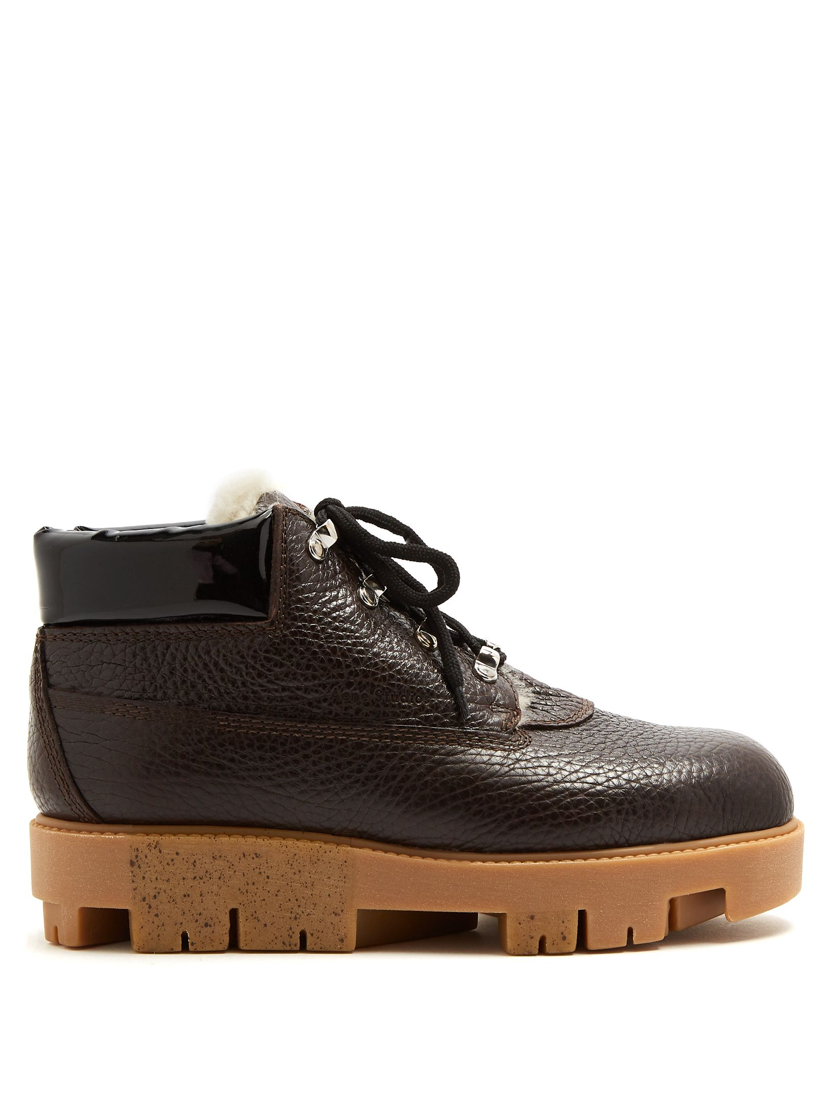 5c8b3f240dce ACNE STUDIOS TINNE TRACK-SOLE LEATHER ANKLE BOOTS.  acnestudios  shoes