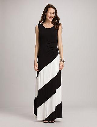 8f99b35df49 Black and White Striped Maxi Dress