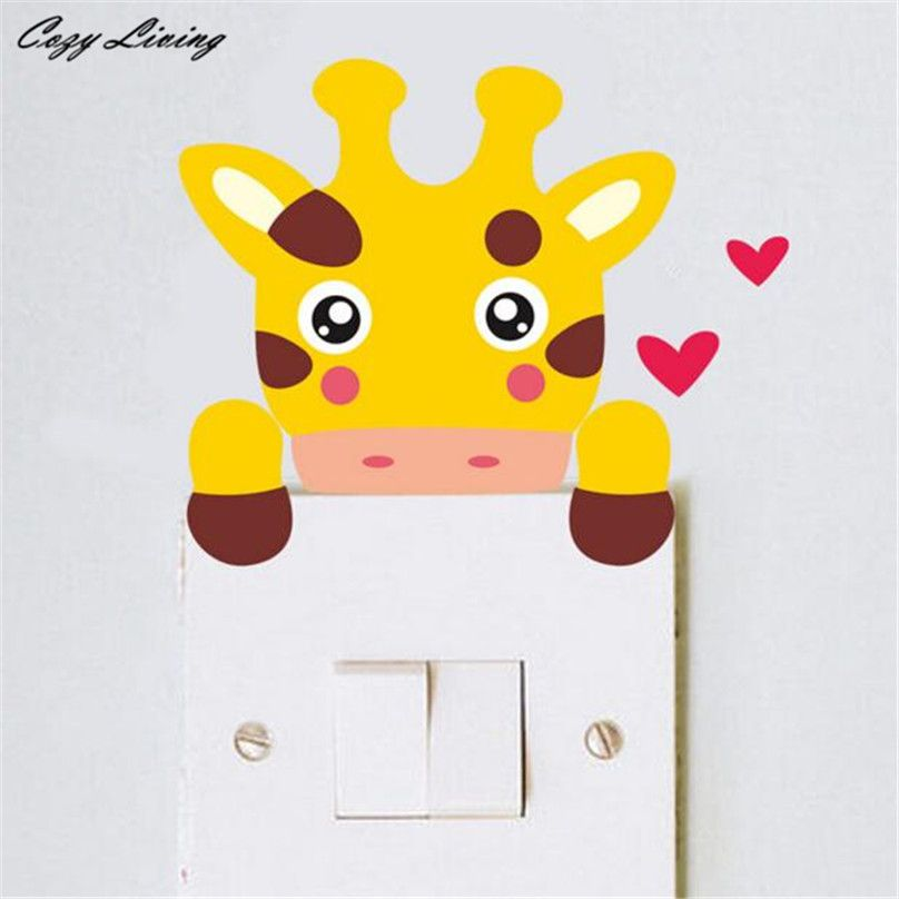 Switch Panel Sticker 7 Colors 1PC Cute Animal Wall Sticker DIY ...