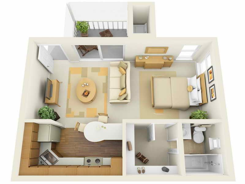 3D Floor Plans for Efficiency Apartments apartment suite