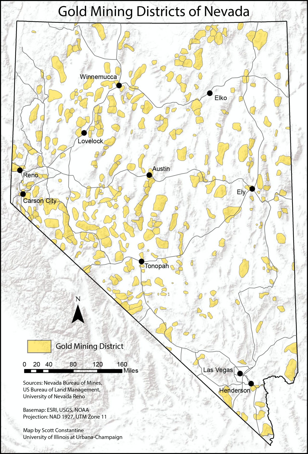 Map of gold mining districts of Nevada, according to Nevada Bureau ...