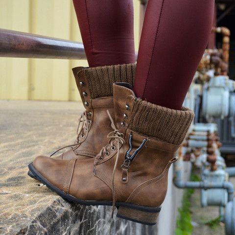 Castle Rock Khaki Sweater Cuffed Combat Boot Boots