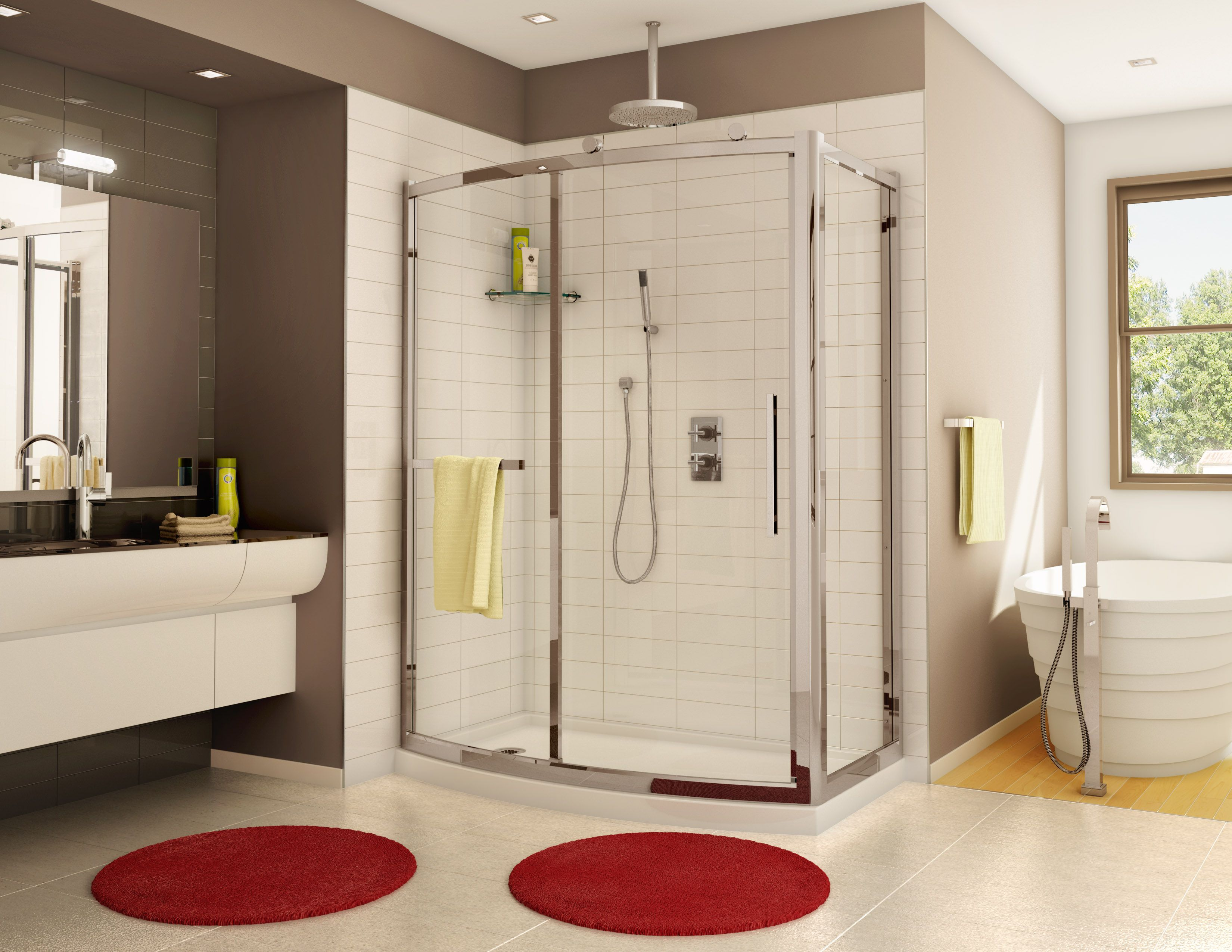 Beautiful Curved Shower Door And Panel With Return Panel By