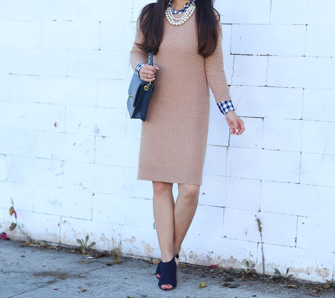 petite gingham shirt, Petite Basketweave Sweater Dress, Steve Madden Claara Block Heel Sandals, fall fashion - click the photo for outfit details!