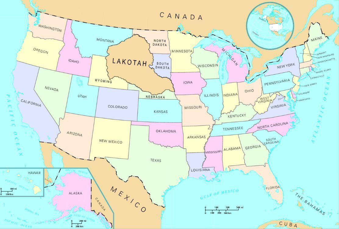 Map Of The United States If The 1851 Treaty Of Laramie Was