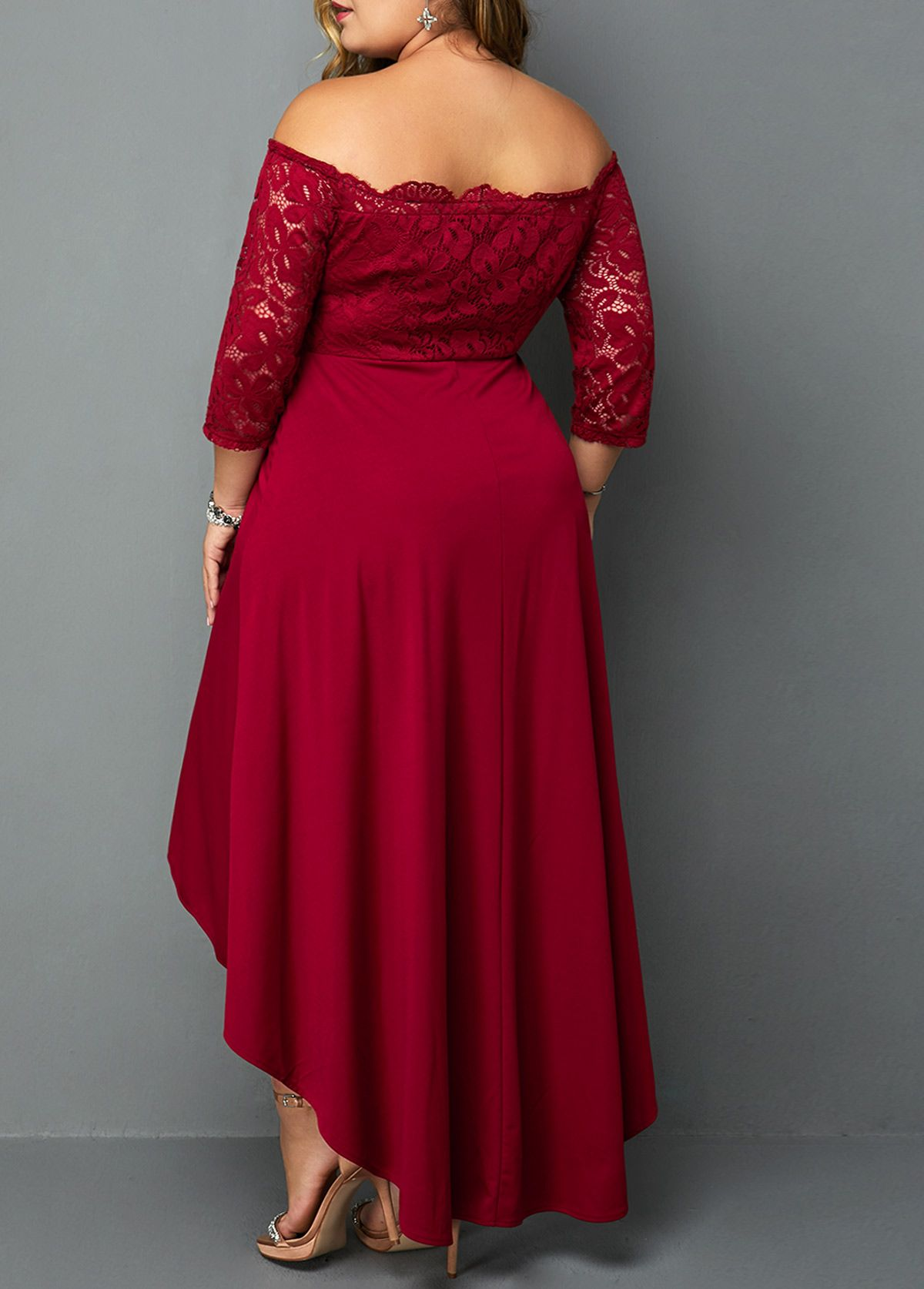 Plus Size Lace Panel Off The Shoulder High Low Dress Rotita Com Usd 33 43 Plus Size Red Dress Party Dresses With Sleeves Fancy Cocktail Dresses [ 1674 x 1200 Pixel ]