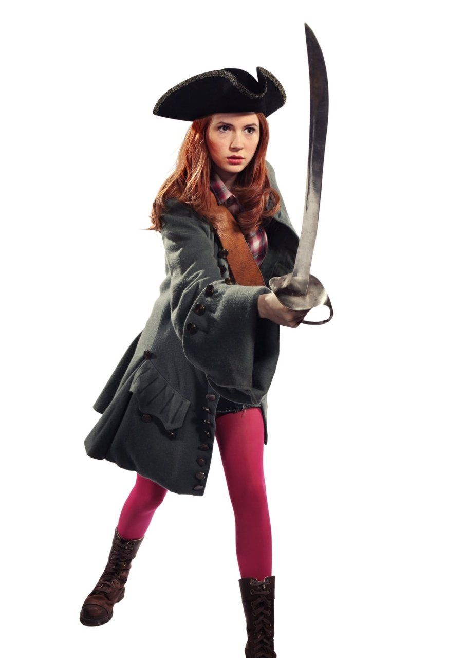 Karen Gillan in pirate costume with flashy pink tights