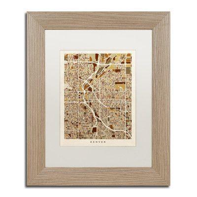 """Trademark Art """"Denver CO Street Map """" by Michael Tompsett Framed Graphic Art Size:"""