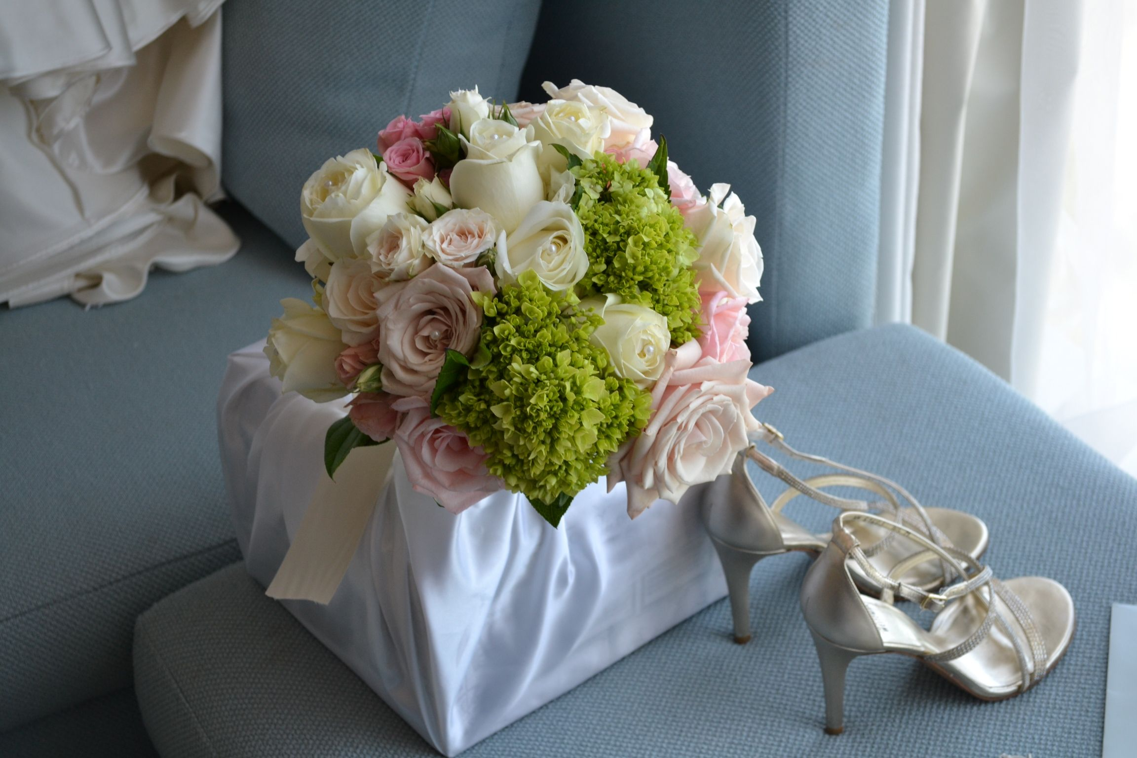 Beautiful Bride's Bouquet  Pinks, Ivory & Lime Green Party Perfect Boca Raton, FL 561-994-8833