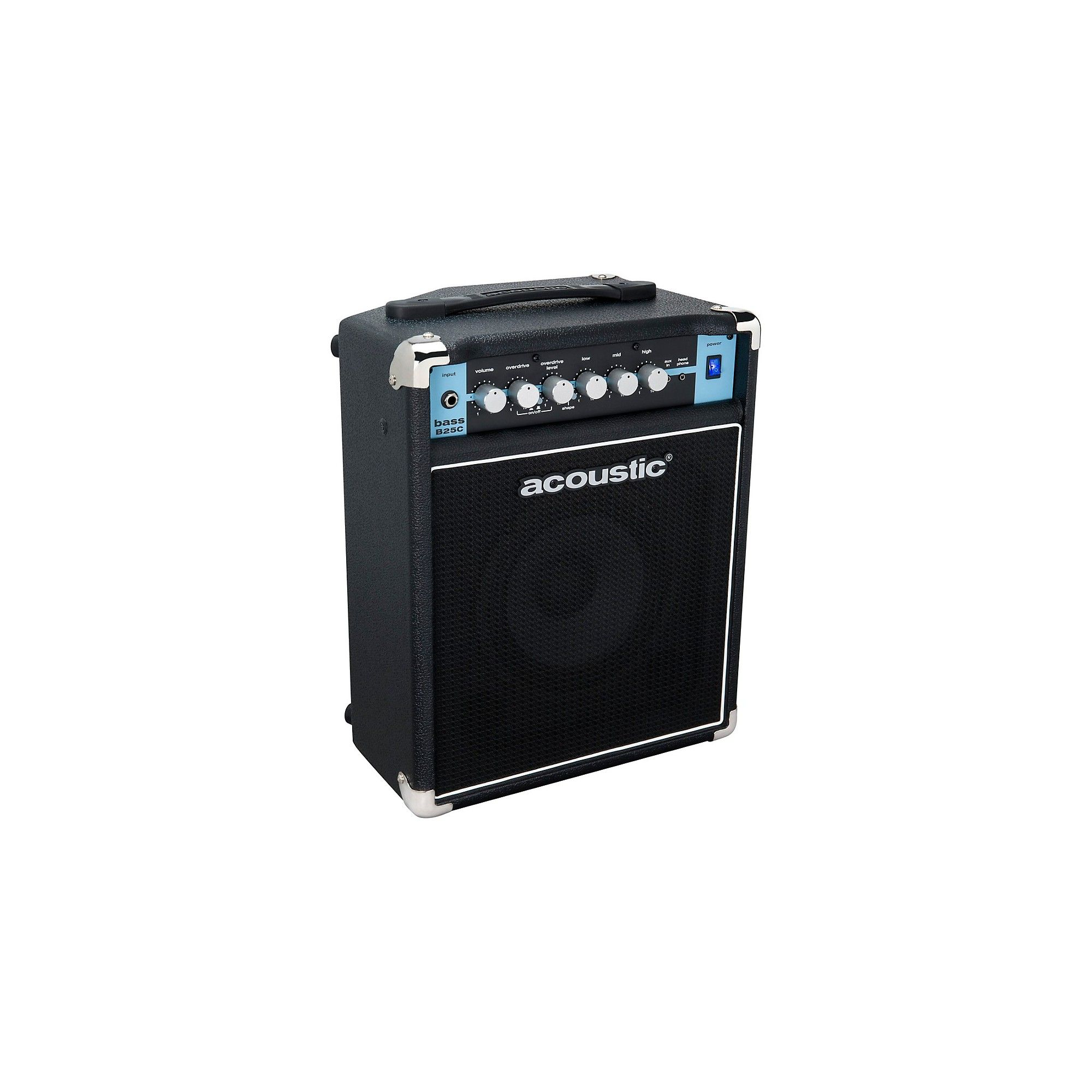 Acoustic B25C 1X8 25W Bass Combo with Tilt-Back Cab Black in