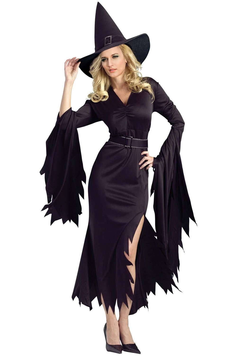 Ladies Sorceress Fancy Dress Costume Gothic Witch Halloween Outfit Plus Size