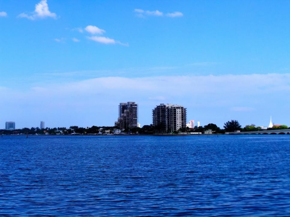 One of the major draws of the land in the Edgewater neighborhood are the bayfront views. This is the view of the Venetian Causeway from Edgewater Square.