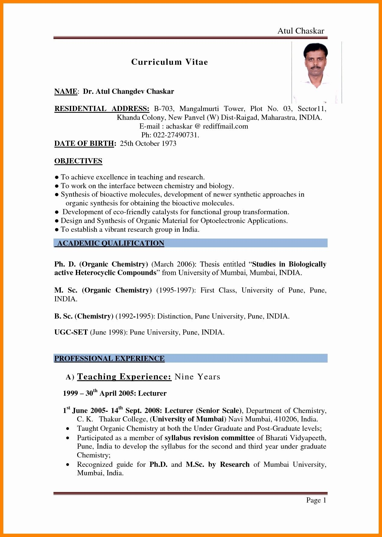 68 Elegant Collection Of Resume Samples for Teachers with