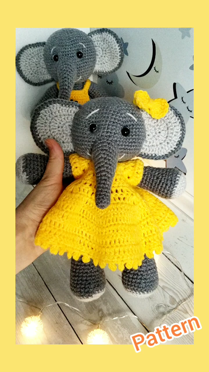 Photo of Crochet elephant in a dress, amigurumi animal pattern