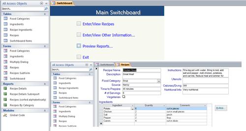 Access Food Recipe Database Management Database Management Access Database Invoice Template