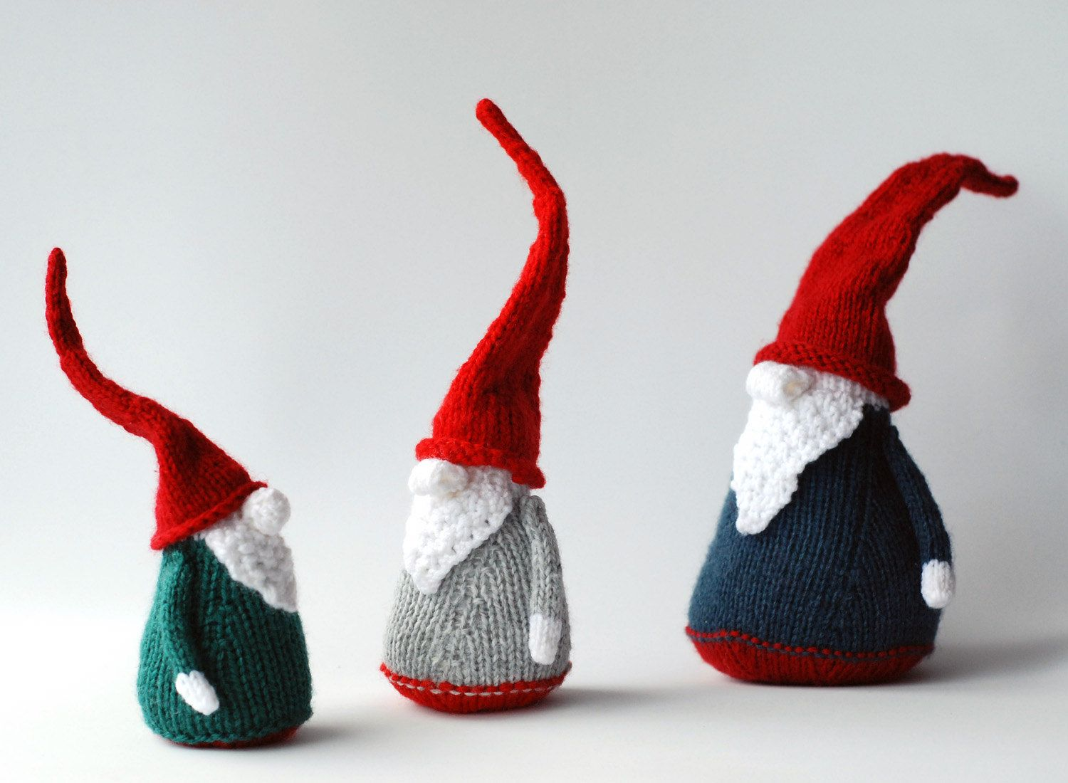 3 Gnomes - pdf knitting patterns. Christmas Ornament. New Year ...