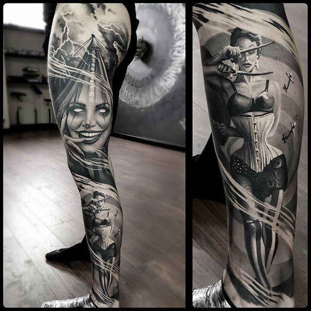 Circus Sleeve Artist Yarson Tattoo Country Uk Follow Skingiants In 2020 Inspirational Tattoos Tattoos Black And Grey Tattoos